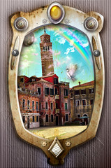 Old fashioned frame with Venice and rainbow