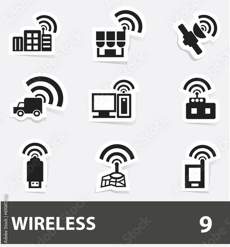 Wireless cartoon icons,vector