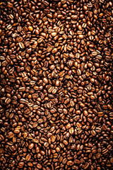Roasted Coffee Beans background texture. Arabic roasting coffee