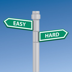 Easy and hard signpost,vector