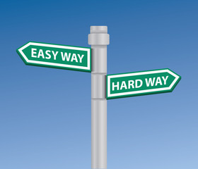 Easy & hard way signpost,vector