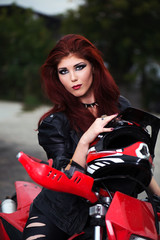 Portrait of an attractive biker chick