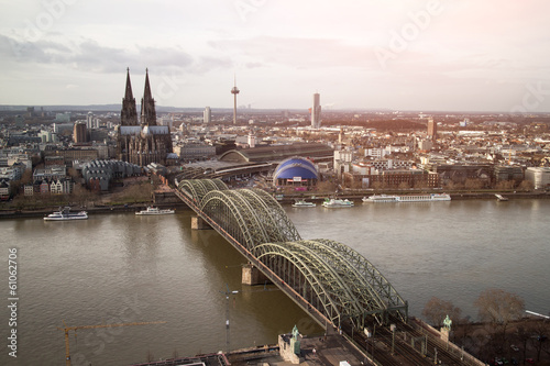 View of Koeln, Germany. Gothic cathedral and steel bridge over r