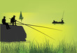 green illustration with fisherman silhouettes
