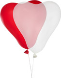 red and white heart shape isolated balloons