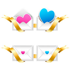 Two envelopes bound with golden ribbon with pink and blue heart