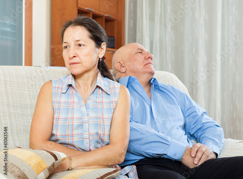 Family quarrel. Mature woman having conflict with  senior man