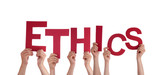 Hands Holding Ethics poster