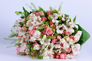 Beautiful bouquet alstroemeria and rose.