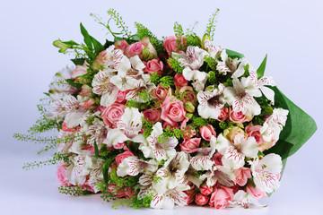 Beautiful bouquet alstroemeria and rose.