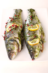 marinated fish  with rosmary, pepper and lemon