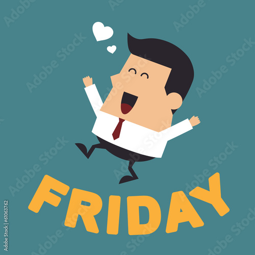 "Young Businessman With the Word ""Friday"", Business concept"