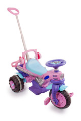 Bright children's tricycle with handle