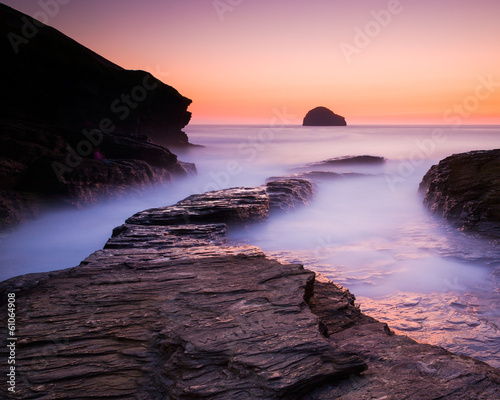 Sunset at Trebarwith Strand Cornwall