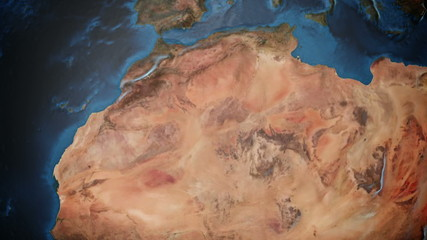 Animated earth with detailed terrain .N Africa and the M East