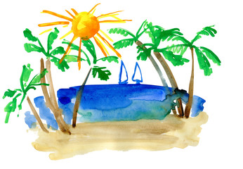 landscape with palm and sailfish