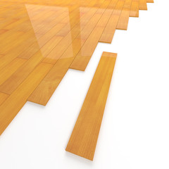 Stained wooden flooring tiles construction
