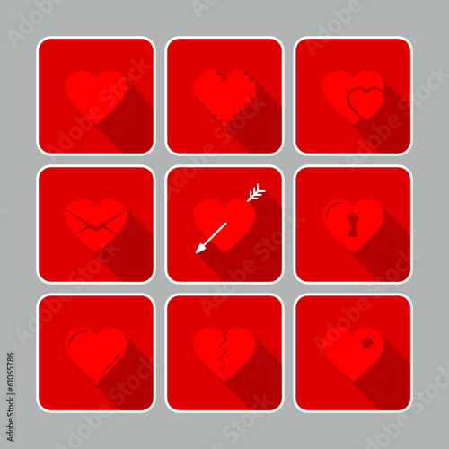 9 Hearts Flat Icons Red/Grey