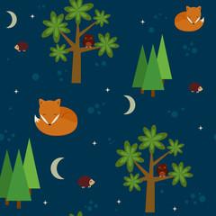 Forest night seamless wallpaper