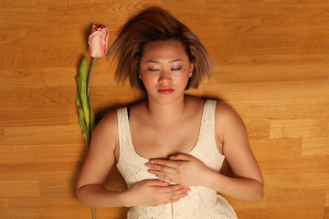 Reiki self-healing heart, pretty Asian woman