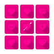 9 Hearts Flat Icons Pink