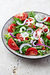 Tomato and Arugula Salad with Onion and Leek