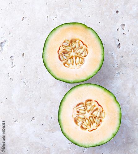 Fresh Cantaloupe on a Stone Background