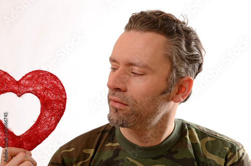 Soldier with a red heart shape