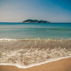 Dafni beach, zakynthos island - vintage coaster