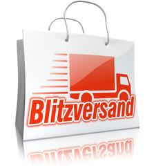 3D-Einkaufstasche BLITZVERSAND, weiß