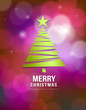 Merry Christmas green tree design on bokeh background