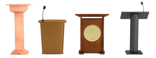 realistic 3d render of podiums