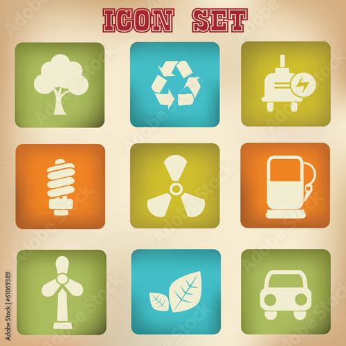 Energy vintage icons,vector