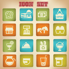 Supermarket and food vintage icons,vector