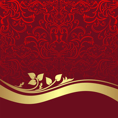 Red luxury ornamental Background with golden Border.