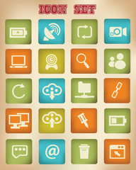 Web and social network vintage icons,vector
