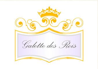 Etiquette galette des rois avec couronne - jaune - epiphanie