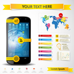 Vector modern smartphone with infographics elements
