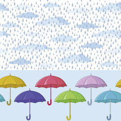 Umbrellas and rain, seamless background