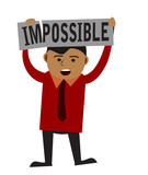 Man making word impossible into possible