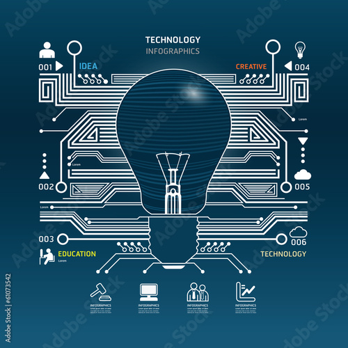 light bulb abstract circuit technology infographic.vector