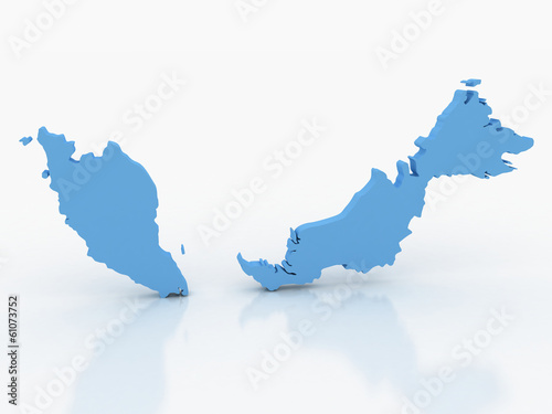 3d rendering of Malaysia map on a white background