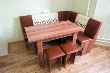 Kitchen angular sofa and table