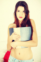 Beautiful woman with a book
