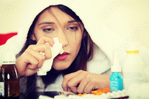 Sick young woman