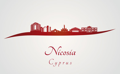 Nicosia skyline in red