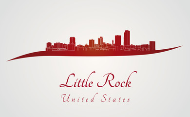 Little Rock skyline in red