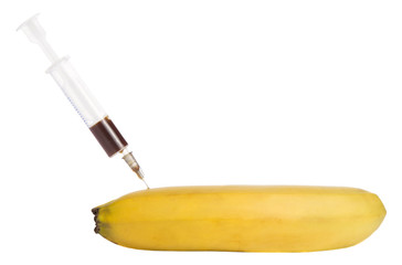 banana with syringe