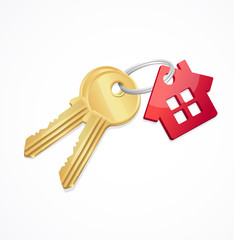 House keys with Red Key chain