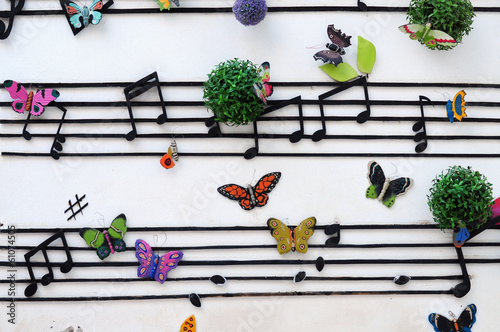 music notes on the wall